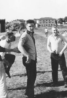 {*Elvis with mates playing football*}