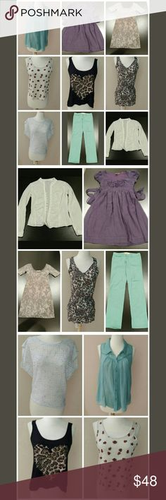 Bundle of 9 Junior Clothes Size Small dresses tops You will receive all 9 pieces! Fits Junior Size Small  Includes:  Papaya Aqua Mint green button up tank top with collar, Rewind Aqua mint green jeans size 0 with stretch, Charlotte Russe long sleeve button up top, Johnny Martin purple dress, Papaya ladybug tank top, Wet Seal black tank top with animal print heart, Love Tree with feather animal print dress, Papaya gray and white shirt, Forever 21 faux lace mini dress Papaya Tops