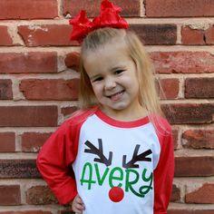 Rudolph Monogram Kids Shirt Christmas Shirts For Kids, Christmas Pjs, Xmas Shirts, Vinyl Shirts, Christmas Monogram Shirts, Vinyl Christmas Shirts, T Shirt Designs, Vinyl Designs, Silhouette Cameo