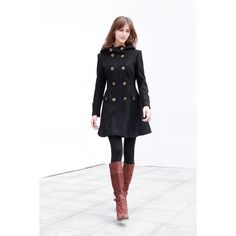 Black Wool Hooded Coat Double breasted Hoodie Wool Coat Winter Jacket... ($150) ❤ liked on Polyvore