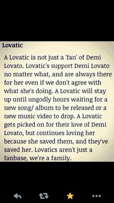 Lovatics!!!!! And im glad it brought out that we dont have to agree with everything shes doing, but we still love and support her.