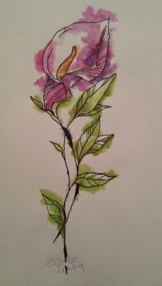 Calla Lily tattoo design by me. (c) Joolz Denby 2014.