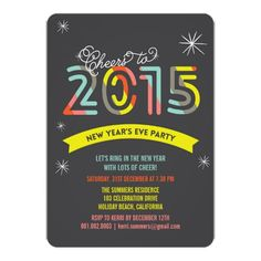 Colorful Cheers 2015 New Year's Eve Holiday Party Card