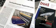 Wir freuen uns auch über diesen schönen Beitrag in der Fachzeitschrift BWD Boden Wand Decke! Vielen Dank über diesen tollen Artikel zu unserer Teppichdruckanlage mit der wir eine Auflösung von 400 dpi auf Teppich realisieren können!