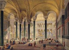 Imperial Library of Constantinople. Relaxing under a cool, high, arched ceiling.