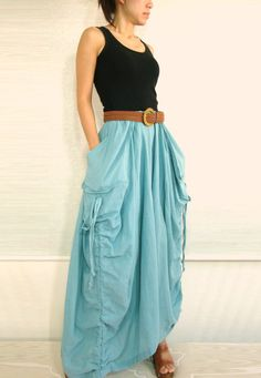 Spring Summer Skirt - Lagenlook Unique Big Pockets Light Blue Long Maxi Skirt - SK001 on Etsy, $49.50