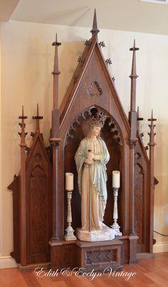 Antique Church Altar Niche Oak Gothic by www.edithandevelyn.etsy.com