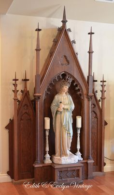 Antique Church Altar Niche Oak Gothic by www.edithandevelyn.etsy.com