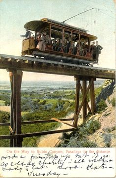 """""""On the Way to Rubio Canyon, Pasadena in the Distance"""" Postcard Altadena California, Southern California, San Gabriel Mountains, Abandoned Train, Train Journey, Old Postcards, Public Transport, The Great Outdoors, Vintage Photos"""