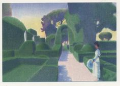 Drawing of Harold Acton's garden at La Pietra Florence made for Italian poster company
