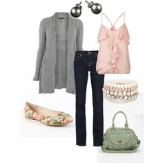 I'm not a huge pink fan but I like this pale pink and green together with the gray