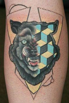 This is what would happen if Qbert was a wolf by Cody Eich. #InkedMagazine #wolf #triangle #leg #tattoo #tattoos #Inked #ink #geometric