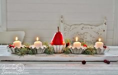 Knick of Time | Repurposed Christmas Candle Holder Centerpieces and Link Party! | http://knickoftime.net