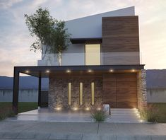 Casa Lemus | Vivenda Residencial Modern Exterior House Designs, Narrow House Designs, Modern House Facades, Dream House Exterior, Modern House Design, House Outside Design, House Front Design, Facade Design, Architecture Design