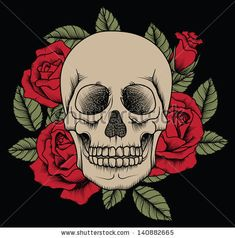 Vector skull with roses - stock vector