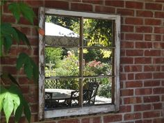 Outdoor Garden Wall Art Outdoor Mirror Wall Art Outdoor Mirror Wall Art Outdoor Wall Mirrors Outdoor Garden Wall Mirrors Dress Up A Dull Fence Or Wall With An Attention Grabbing Diy Outdoor Garden Wal Outdoor Mirror, Outdoor Walls, Outdoor Rooms, Outdoor Living, Old Windows, Windows And Doors, Recycled Windows, Window Mirror, Wall Mirrors
