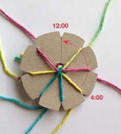 How to Make a Round Braid · Art Projects for Kids - Grundschule Kumihimo Bracelet, Yarn Bracelets, Kids Bracelets, Braided Bracelets, Friendship Bracelets, Leather Bracelets, Camping Crafts, Fun Crafts, Diy Crafts For Kids