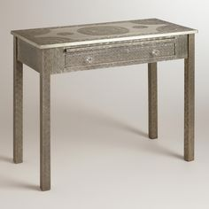 Metal Embossed Karissa Desk   World Market   (This is absolutely amazing.  and 300 dollars.  but also amazing)