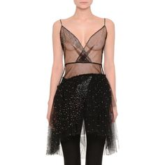 Valentino Embellished Tulle Wrap-Front Illusion Top ($10,700) ❤ liked on Polyvore featuring tops, black, wrap front top, tulle top, cross over top, layered tops and spaghetti strap top