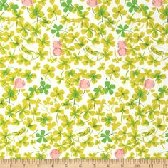 Heather Ross Briar Rose Cricket Clover Pink/White from @fabricdotcom  Designed by Heather Ross for Windham Fabrics, this cotton print is perfect for quilting, apparel and home décor accents.  Colors include white, green, brown and pink.