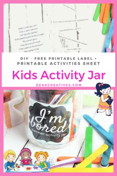 DIY Kids Activity Jar - Are you looking for activities to keep your kids busy? Make this kids activity jar DIY! Free printable kids activities sheet and jar label. Keep the kids busy and having fun! Great for summer or any time of the year! DearCreatives.com #kidsactivities #fun #summerkidsactivities #kids #diy #activityjar #diykidsactivityjar #kidsactivityjar #summerfunkids #kidssummerfun Activity Sheets For Kids, Printable Activities For Kids, Preschool Activities, Summer Fun For Kids, Summer Activities For Kids, Summer Diy, Bored Jar, Chores For Kids, Business For Kids
