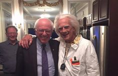 On Back to the Future day, presidential candidate Bernie Sanders broke the internet posting a photo with his doppelganger Doc Brown.
