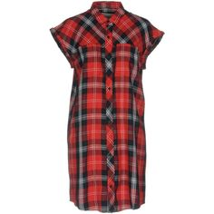 Carhartt Short Dress (2.150 CZK) ❤ liked on Polyvore featuring dresses, red, plaid shirt dresses, red plaid dresses, rayon dress, red mini dress and red dresses