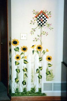 Image detail for -Sunflowers Picket fence mural with plaid birdhouse