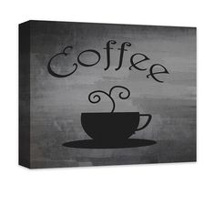 "Coffee Cup Word Art Canvas and Print Wall Art. Coffee word art design home decor, black on gray grunge, wall art for the living room, dining room, kitchen, bedroom, teen room, rec room, in 20 options. Personalize with custom text (add to comments). Available in .75""/1.5"" thick quality artist grade hand-stretched canvas or professional grade luster print, canvas ships ready to hang for ease and convenience, ships in 7-10 business days."