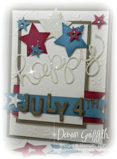 Hello You Thinlits , Little Numbers Thinlits, Little letter Thinlits , Rose Red and stock  , Marina Mist card stock , Tip Top Taupe card stock , Glimmer paper . Check out my blog today for all the details  and have a safe  and happy July 4th <3