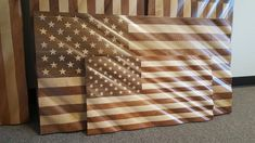 Smaller version of our original flag. This beauty is x x Same beautiful finish and quality Wood Ideas, Usa Flag, Corporate Gifts, Pallet Projects, Red White Blue, American Flag, Flags, Solid Wood, Hardwood