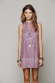 Free People Fp One Angel Lace Dress in Purple (Dusty Plum) - Lyst Bohemian Mode, Hippie Boho, Bohemian Style, Boho Gypsy, Looks Style, Style Me, Lace Dress, Dress Up, Swing Dress