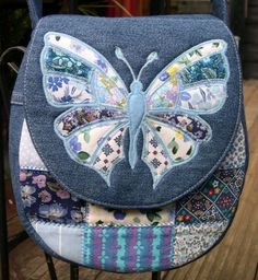 Denim bag with applique and patchwork Patchwork Bags, Quilted Bag, My Bags, Purses And Bags, Coin Purses, Bag Quilt, Butterfly Bags, Butterfly Pattern, Denim Purse