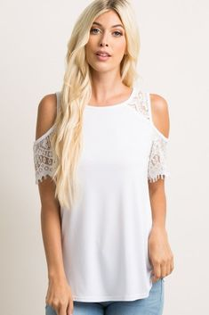 7f2a2ae32bf59 White Lace  cold Shoulder Top