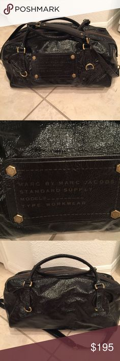 Marc By Marc Jacobs Bag Marc by Marc Jacobs patent leather workwear bag.  Large duffel style with top handles and shoulder strap. Gold hardware.  No trades Marc by Marc Jacobs Bags Totes