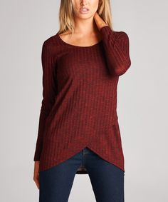 Loving this Burgundy Scoop Neck Tunic on #zulily! #zulilyfinds
