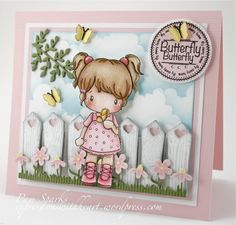 CC Designs card – dimensional fence – bjl @ DIY Home Crafts Pretty Cards, Cute Cards, Tiddly Inks, Tampons, Card Making Inspiration, Card Sketches, Copics, Card Tags, Kids Cards