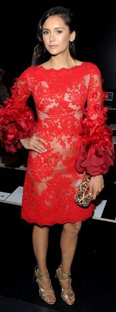 6a3c47a3ed7 Who made Nina Dobrev s gold clutch handbag and red lace dress  Nina Dobrev  Style