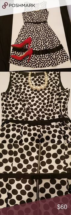 Black and white polka dot dress 🥂🍾Black and white polka dot dress.. Tea length.. boat neck.. Exposed zipper in the middle of the back.. Comes with bow belt. Belt snaps in the back.. Excellent quality.. NWOT 🥂🍾 Danny and Nicole Dresses
