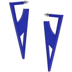 TOPSHOP Central Saint Martins Triangle Cut-Out Earrings (160 HNL) ❤ liked on Polyvore featuring jewelry, earrings, topshop, blue, topshop earrings, plastic earrings, triangle shaped earrings and earrings jewelry