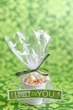 Easy St. Paddy's Day treat bucket. Buckets from dollar store, rollo candies, green ribbon, cellophane bags, and a FREE printable!