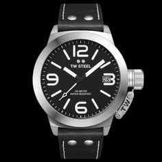TW STEEL CANTEEN 45MM 3-HANDS BLACK LEATHER WATCH