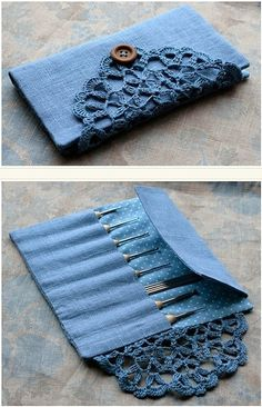 notebook covers, knitting needles, gift, bag, crochet hooks, brush, crochet doilies, wallet, old jeans