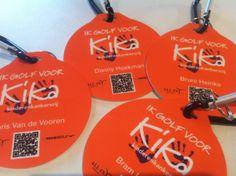 Ik golf voor Kika speciale productie golfbagtags met naam en QR-code!