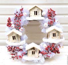 Купить Рождественский венок белый Були-Були - ярко-красный, белый, венок, венок на дверь