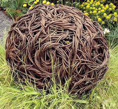 Cast Bronze Grand Sphere by Rachel Carter Dimensions - diameter Abstract Sculpture, Bronze Sculpture, Rachel Carter, Contemporary Baskets, Willow Garden, Willow Weaving, Basket Weaving, Twig Art, Ephemeral Art