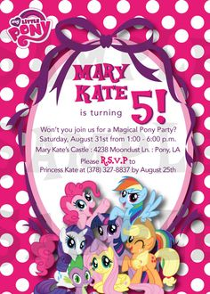Super Adorable My Little Pony Invitation - Any Color you choose