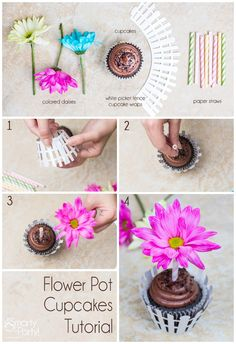 Flower Pot Cupcake Tutorial | Smarty Had A Party