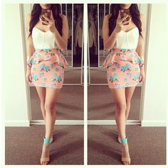 Floral Peplum Skirt (Color Block) Outfit
