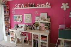 The white ledge shelf, the sewing table and the cutting table are all from Ikea.